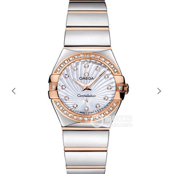 V6欧米茄星座系列女士石英手表  27毫米 一比一复刻正品18k玫瑰金镶钻