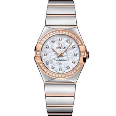 V6欧米茄星座系列女士石英手表  27毫米 一比一复刻正品贝壳面玫瑰金镶钻