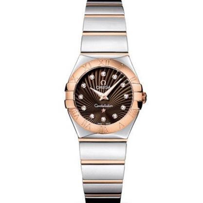 欧米茄星座系列石英女士手表 进口瑞士石英机芯 咖啡面玫瑰金
