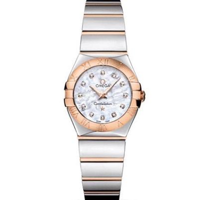 V6欧米茄星座系列女士石英手表  27毫米 一比一复刻正品贝壳面玫瑰金