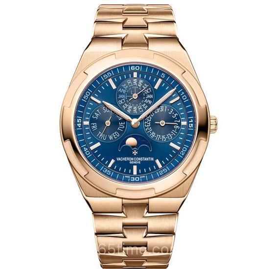 复刻江诗丹顿纵横四海系列4300V万年历玫瑰金蓝盘多功能机械男士腕表