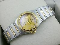 noob厂欧米茄星座系列女士手表贝壳表面18K金两针钻石刻度