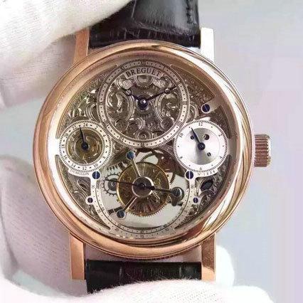 精仿宝玑Breguet 陀飞轮 手动上链 楼空四针计时 皮带男士腕表