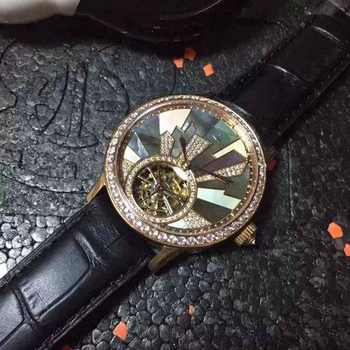 一比一精仿积家约会系列 陀飞轮女款 手动机械上链 彩色贝母字面 镶钻女士皮带腕表