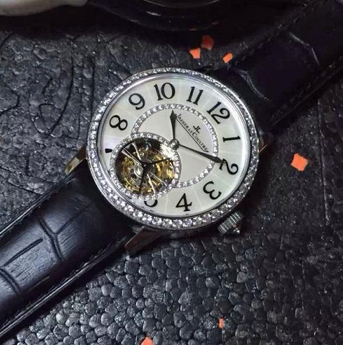 精仿积家约会系列 陀飞轮女款 手动机械上链 贝母字面 皮带腕表