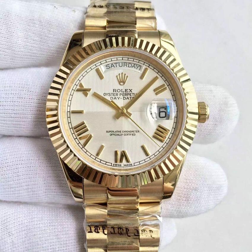 劳力士(Rolex)星期日历型新款白面罗马数字机械表