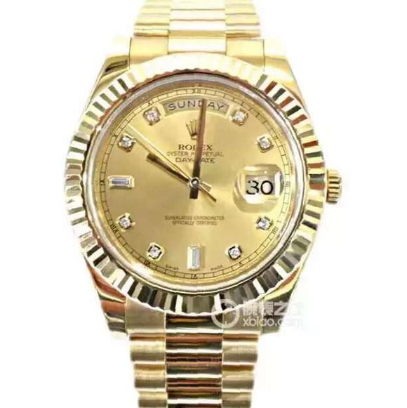 劳力士,型号:218238,系列:星期日历型,2836自动机械,41毫米,男士手表,密底,表壳精钢包