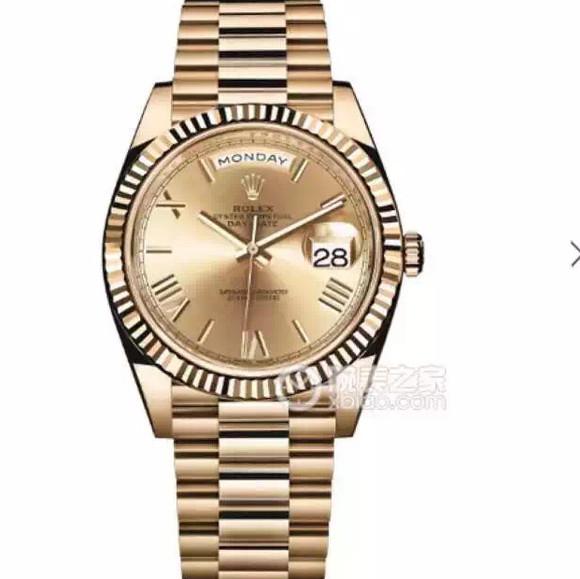 劳力士型号:228238-83418系列星期日历型机械男士手表。