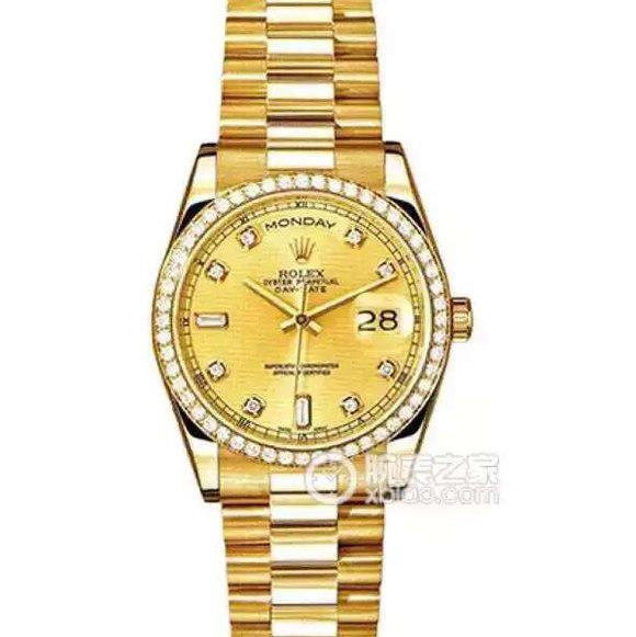 劳力士型号:118348-83208系列星期日历型机械男士手表。