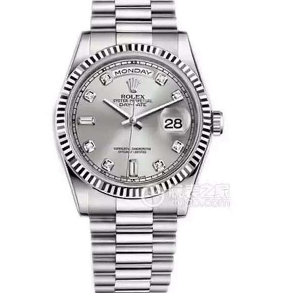 劳力士型号:118239-73209 A系列星期日历型机械男士手表。