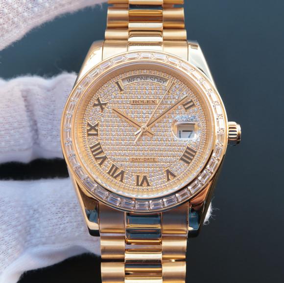 劳力士日志星期日历型218399满天星机械男士手表。