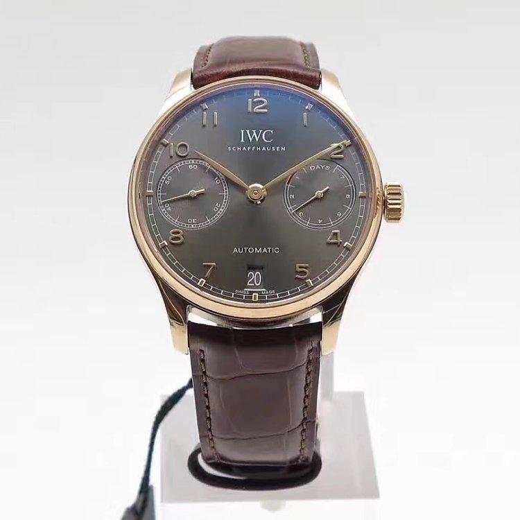 zf厂v4版万国葡七玫瑰金灰面蓝宝石镜面复刻手表