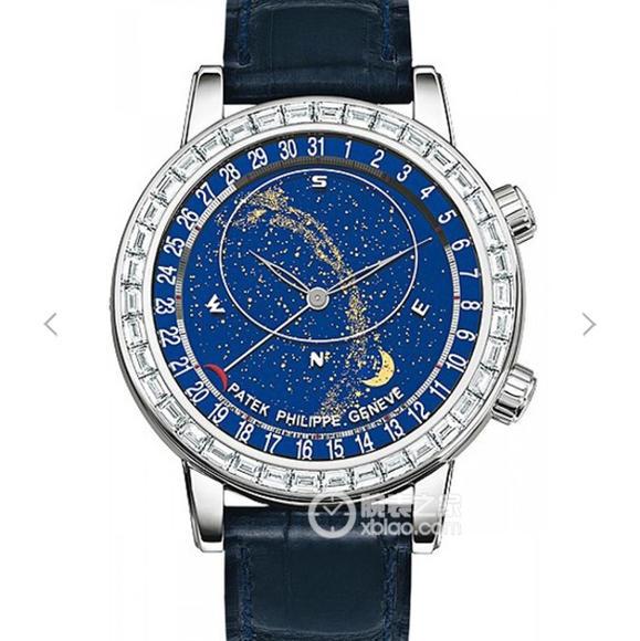 顶级高仿百达翡丽超级复杂功能计时系列6104款男士手表 镶嵌施华洛世奇钻