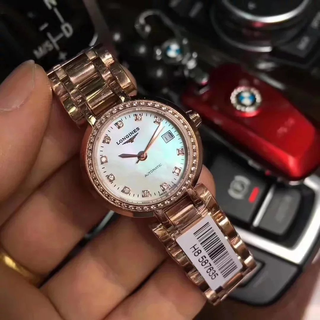 浪琴心月系列女士机械手表 玫瑰金镶钻