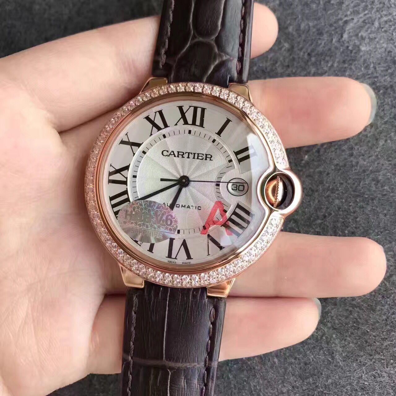 v6厂v7版卡地亚蓝气球系列玫瑰金镶钻42mm男士机械手表