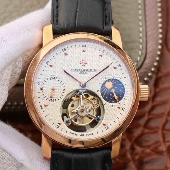 江诗丹顿动能显示日月星辰真陀飞轮 动能显示 玫瑰金白面男表 手动
