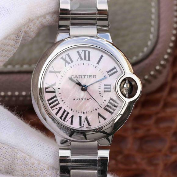 V6厂卡地亚蓝气球33mm机械女士手表钢带一比一复刻女表 媲美正品