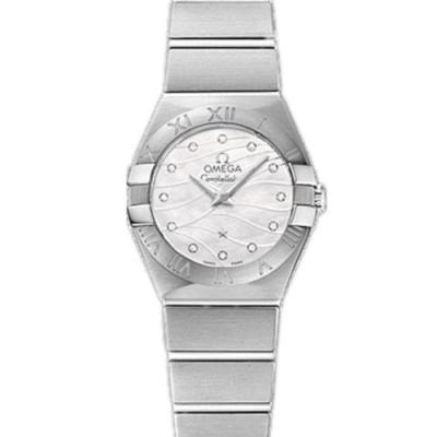 市面最强的欧米茄星座系列女士石英白面罗马数字手表 蓝面款 高配置以假乱真没问题