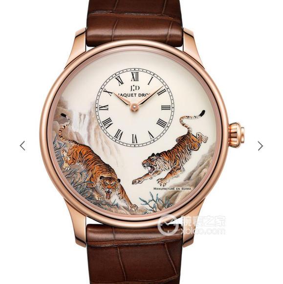 TW雅克德罗艺术工坊系列J005033222男士玫瑰金款手表 猛虎下山