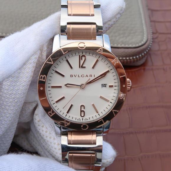 TW宝格丽BVLGARI BVLGARI SOLOTEMPO系列102056中性玫瑰金白盘钢带款