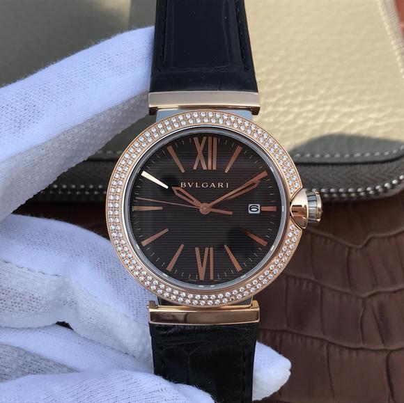 宝格丽创意珠宝系列102571 LU40C6SSPGLD中性男女可戴的机械皮带腕表 镶钻款