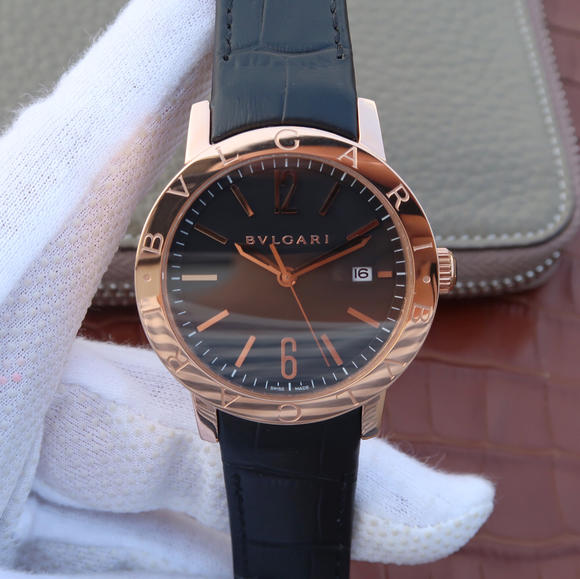 TW宝格丽BVLGARI BVLGARI SOLOTEMPO系列102056中性玫瑰金黑盘腕表