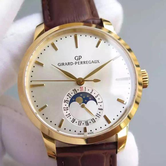 VF芝柏1966系列月相功能金色男士机械手表