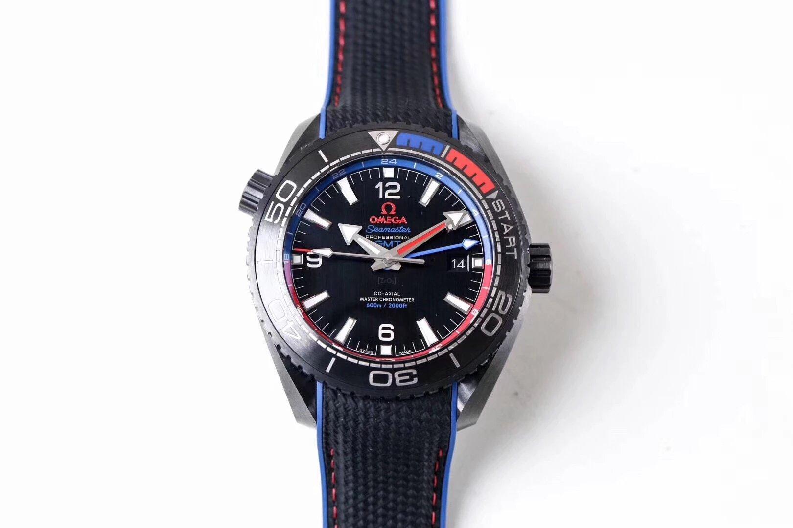 """VS厂欧米茄陶瓷海洋宇宙600米男士机械手表  """"深海之红蓝"""""""