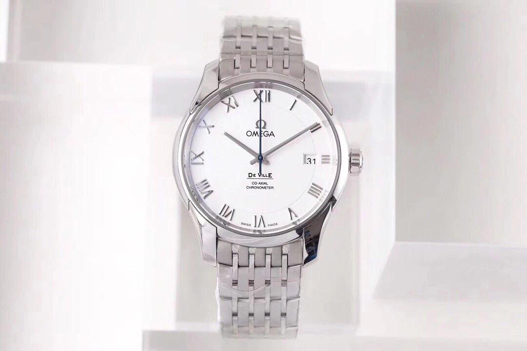 VS厂欧米茄蝶飞系列经典商务白盘男士机械钢带款手表