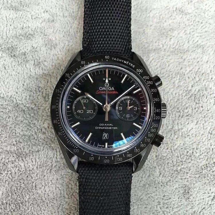 JH出品欧米茄超霸月之暗面陶瓷腕表  44.2mm 黑色陶瓷表壳搭配涂层尼龙面料表带