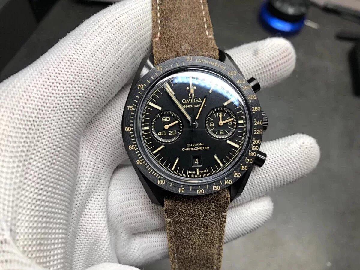 JH出品欧米伽超霸月之暗面陶瓷腕表  44.2mm 黑色陶瓷表壳搭配涂层尼龙面料表带