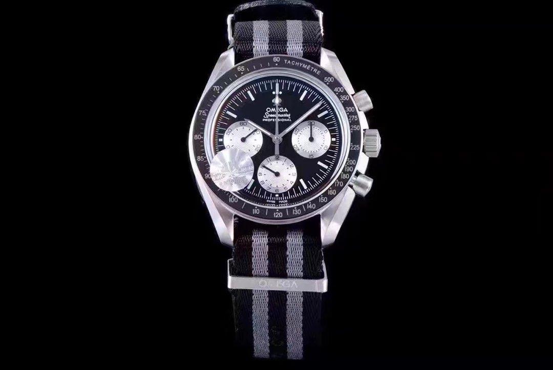 jh新品欧米茄登月系列限量计时码表 三个小表盘 男士机械手表