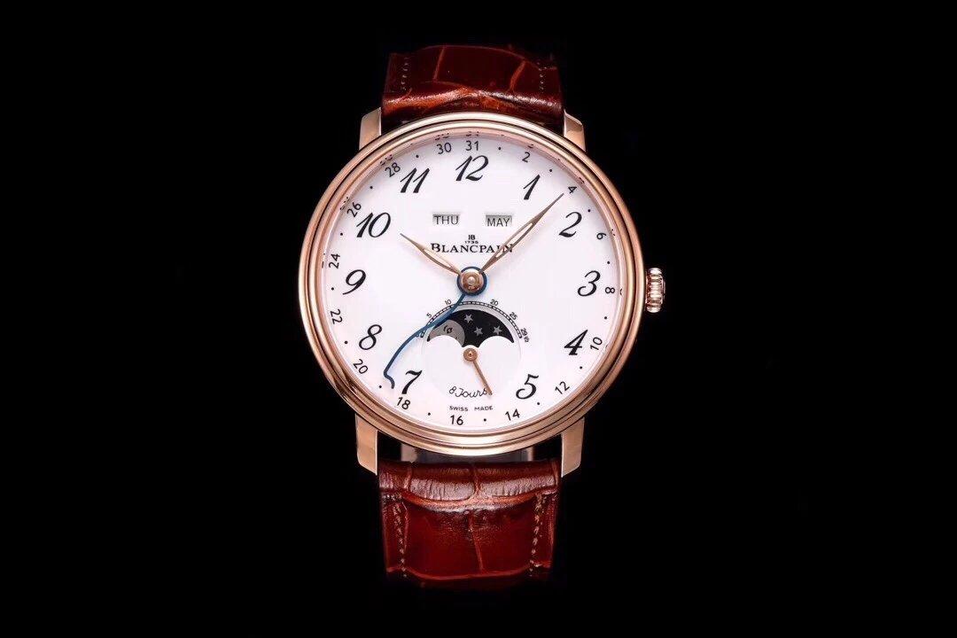 OM 新品宝珀villeret经典系列6639月相显示 自制6639机芯 全功能男士手表