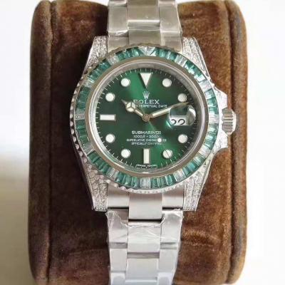 N厂出品劳力士绿幽灵904L版男士手表  一副钢带一副鳄鱼皮