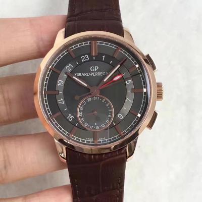 GP芝柏1966系列双时区腕表金壳灰面 GMT和日历功能都可用 TF厂出品 自动机械机芯