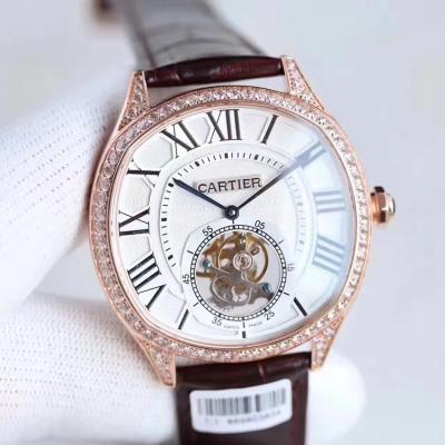 TF出品 Cartier 卡地亚Drive de系列陀飞轮 镶钻 皮带表 手动上链机芯 男士手表