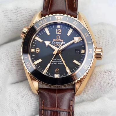 欧米茄XF 海洋宇宙 43.5mm 四针带Gmt功能调时间小秒针能停 皮带手表