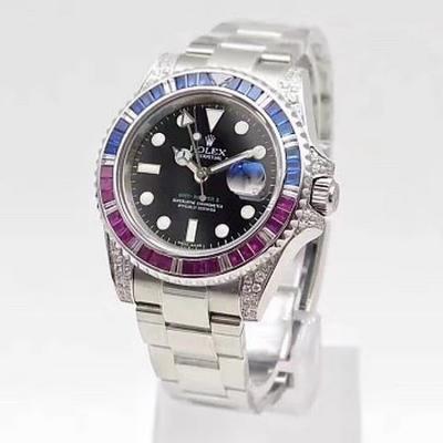 BP厂新品 镶钻ROLEX劳力士 宝石彩虹圈GMT格林尼治系列 尺寸40mm 中性腕表