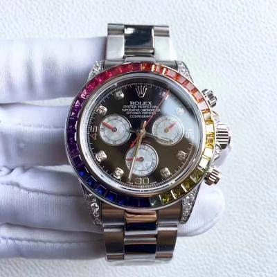 【实拍】Rolex 劳力士 迪通拿 彩虹钻圈 搭载7750多功能计时机芯 40mm