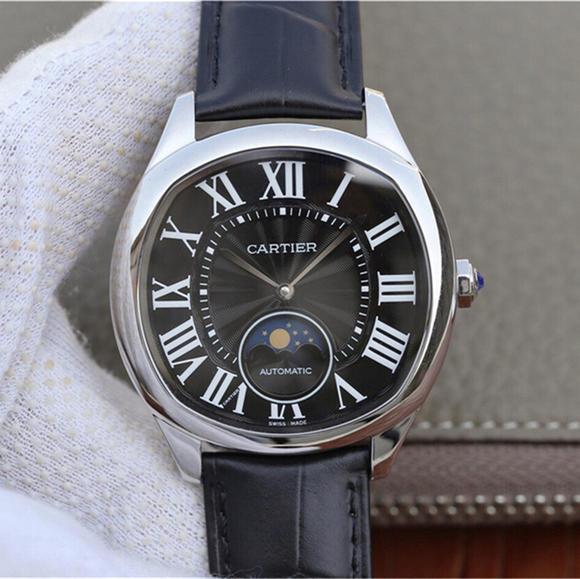 卡地亚DRIVE DE CARTIER系列WGNM0009黑面月相男士腕表
