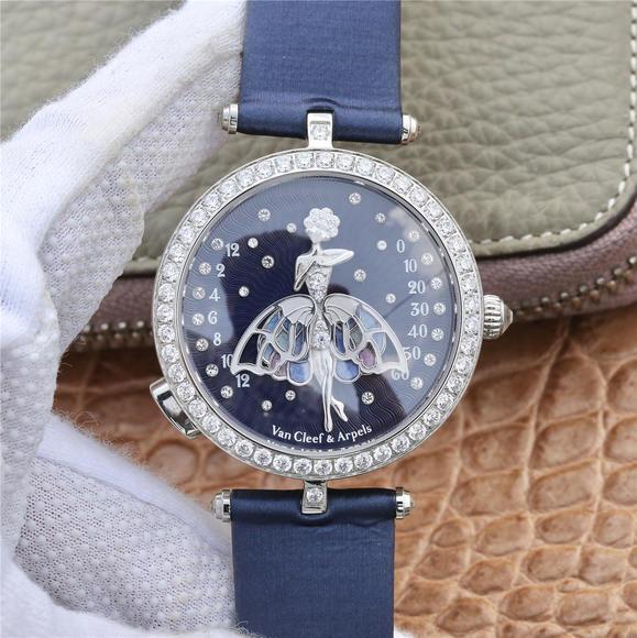 GP梵克雅宝诗意复杂功能系列 舞动的天使 琅工艺裙䙓 圈口镶钻 字面小人纯银打造