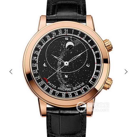 百达翡丽星空超级复杂功能计时系列6104款玫瑰金男士手表