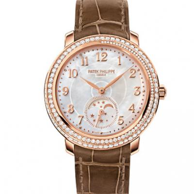 KG厂复刻百达翡丽复杂功能系列4968R-001女士手表玫瑰金镶钻