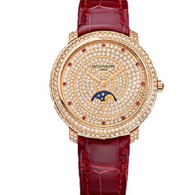 一比一精仿百达翡丽复杂功能系列4968/400R-001镶钻女士机械手表