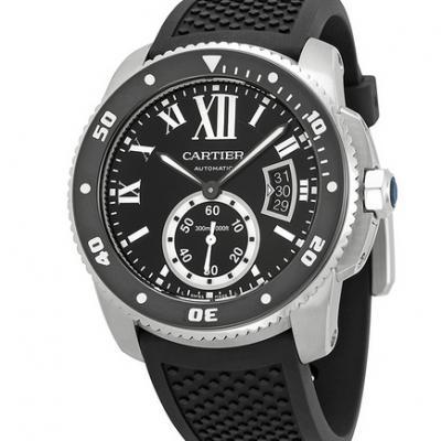 卡地亚卡历博系列W7100056潜水腕表硅胶带带款机械男表
