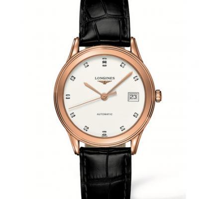 TW浪琴军旗系列 L4.774.8玫瑰金男士机械皮带手表 带钻