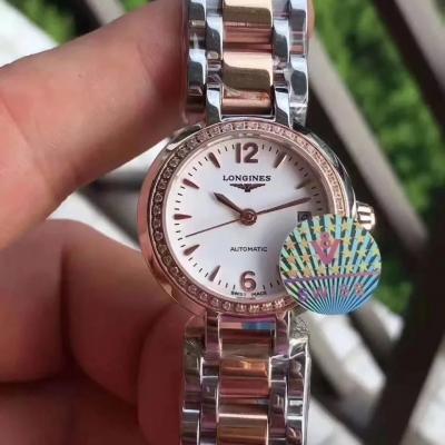浪琴心月系列女士镶钻机械手表 玫瑰金