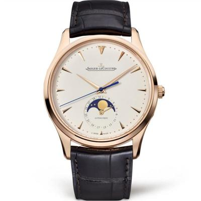 ZF积家超薄月相大师玫瑰金男士自动机械皮带手表 最逼真的版本