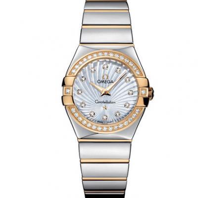 V6厂欧米茄星座系列123.25.27.60.55.008女士石英手表 27mm 一比一复刻正品镶钻