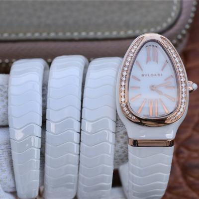 BV宝格丽SERPENTI系列白色陶瓷与黑陶瓷腕表玫瑰金镶钻